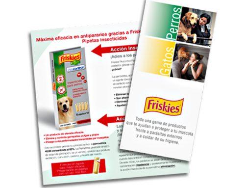 Diseño de folleto promocional para punto de venta. Friskies